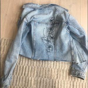Joe's Jean denim jacket embroidered flower XS